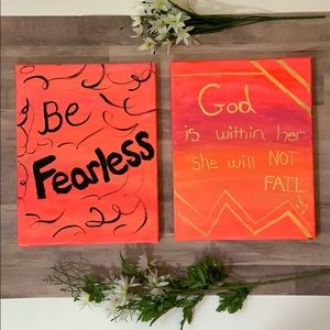 🌹Set of 2 Hand Painted Canvas Bible Verse